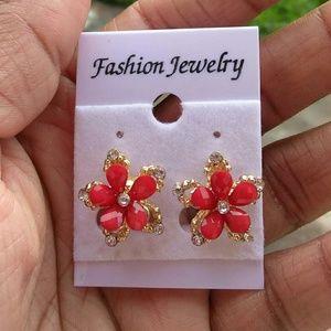 Jewelry - Red Flower Petal Gold Tone CZ Stud Earrings